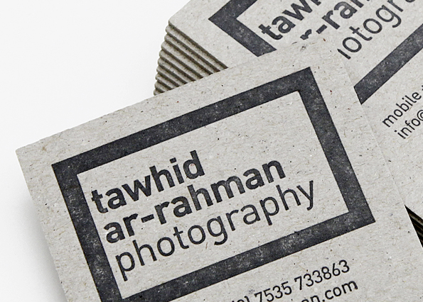 Letterpress business card tawhid ar rahman design photography letterpress business card letterpress is a technique where text or images are relieved into the paper or cardstock in order to obtain a sort of indentation reheart Gallery