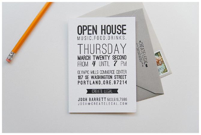 Letterpress open house invitation three fifteen design stopboris Image collections